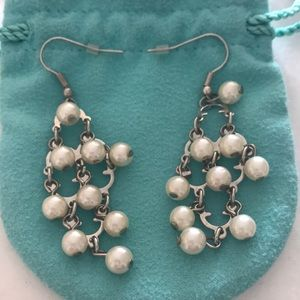 Sterling silver and pearl chandelier earrings